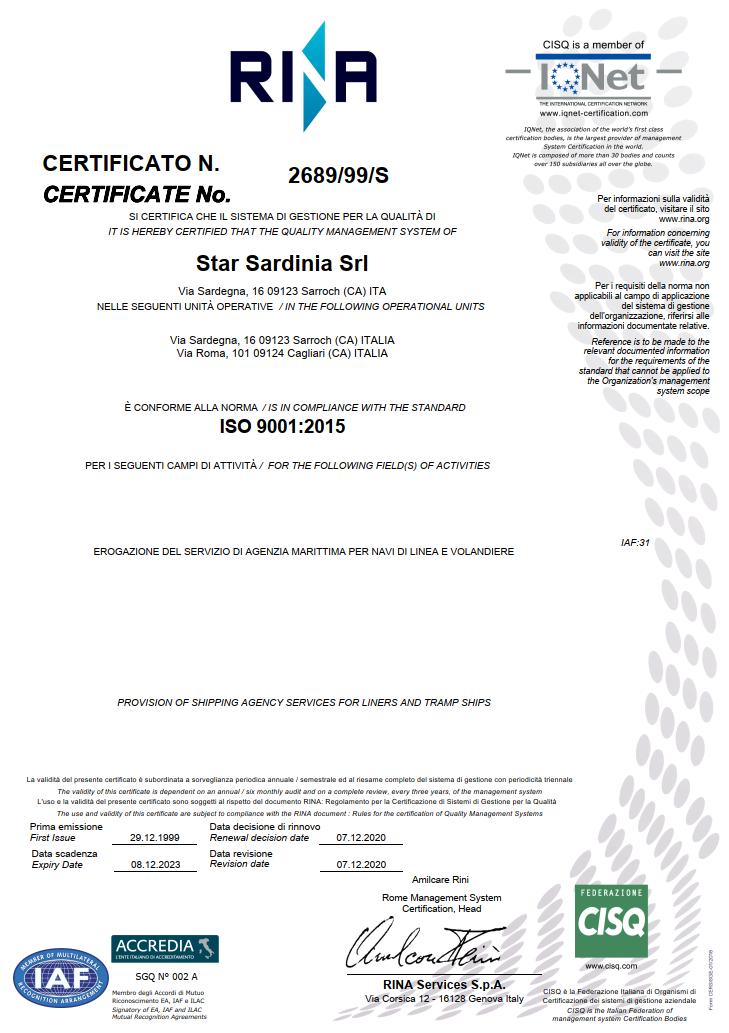 Certificato di Qualità RINA 2020